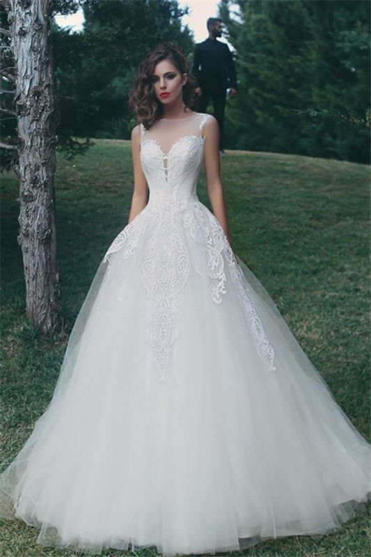 Tulle A-Line Appliques Sleeveless Glamorous Wedding Dresses Cheap Online