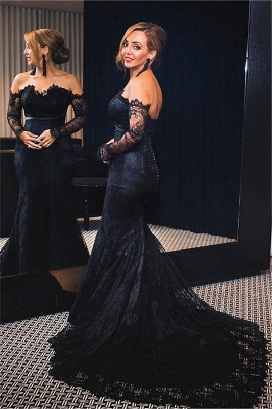 Cheap Off-shoulder Long Sleeves V-neck Lace Sweep-train Mermaid Prom Dresses