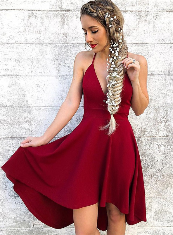 Newest Red Spaghetti Strap A-line Homecoming Dress   Short Party Gown