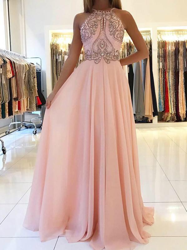 Modest Pink Beads A-line Prom Dress | Chiffon Prom Dress