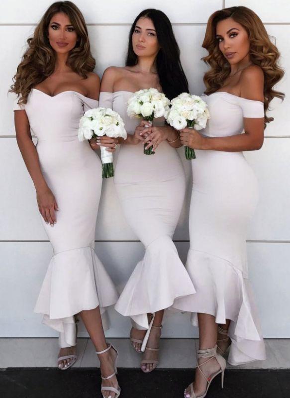 Simple Hi-Lo Mermaid Bridesmaid Dresses