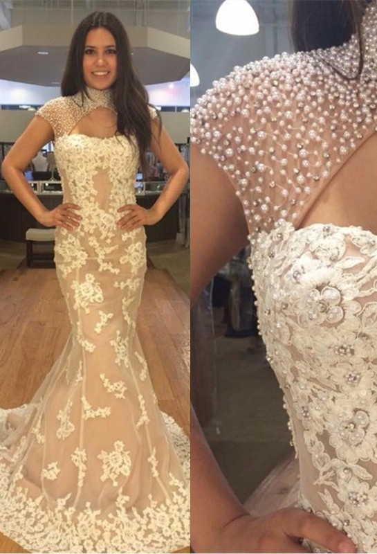 Newest Pearls High Neck Mermaid Lace Appliques Prom Dress