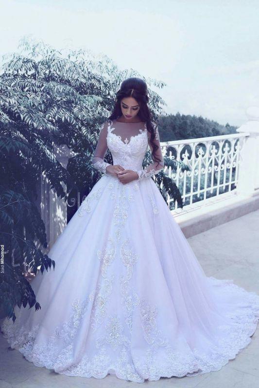 Elegante Tüll Applikationen lange Ärmel Brautkleider Braut Ballkleider