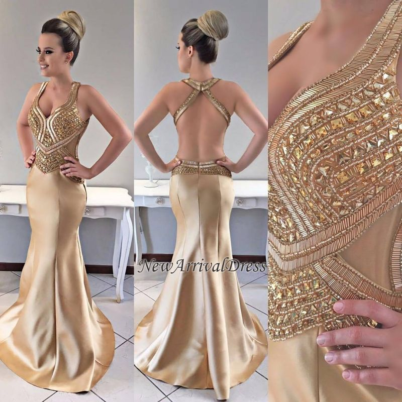Modern Gold Crystals Straps Mermaid Prom Dress  021528171