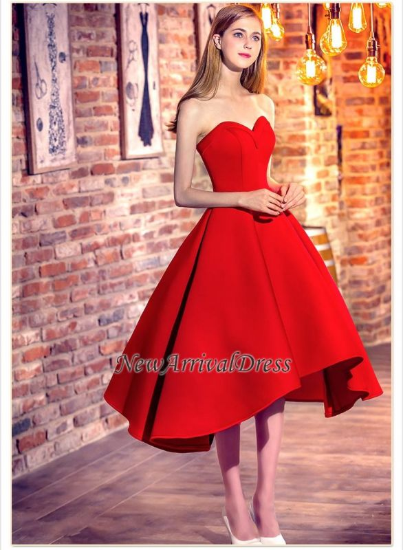 Red Short Cocktail Dresses Sweetheart Neck Hi Lo Chic Party Dresses
