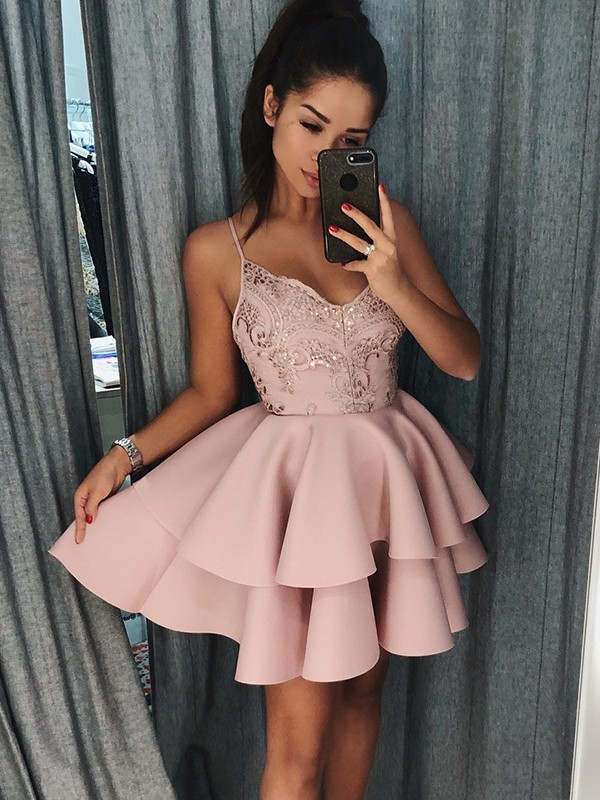 Newest Pink Spaghetti Strap Ruffles Homecoming Dress | Short Party Gown BA9891