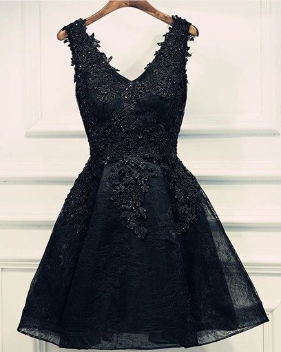 Lace Appliques Beads V-Neck Lace-Up Black Sexy Short Homecoming Dresses BA6904