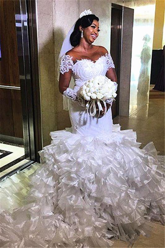 Weg von der Schulter Meerjungfrau Günstige Brautkleider | Transparente Tüll Rüschen Spitze Brautkleider Online