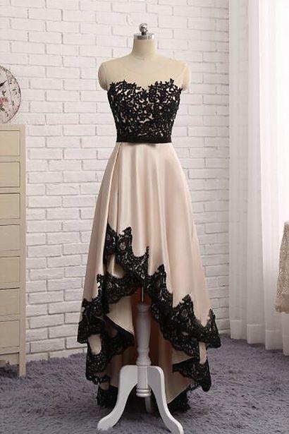 Elegant Illusion Sleeveless Hi-Lo Custom Made A-line Prom Dresses Cheap BA7504
