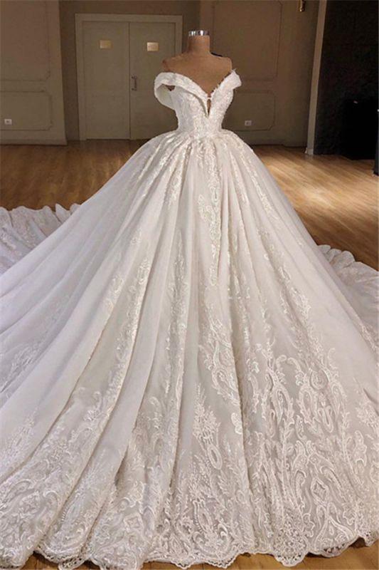 Wunderschöne Off Shoulder Ballkleid Brautkleider 2021   Puffy Lace Brautkleid Online