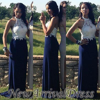 Navy-Blue Sheath Halter-Neck Lace-Top Elegant Prom Dresses