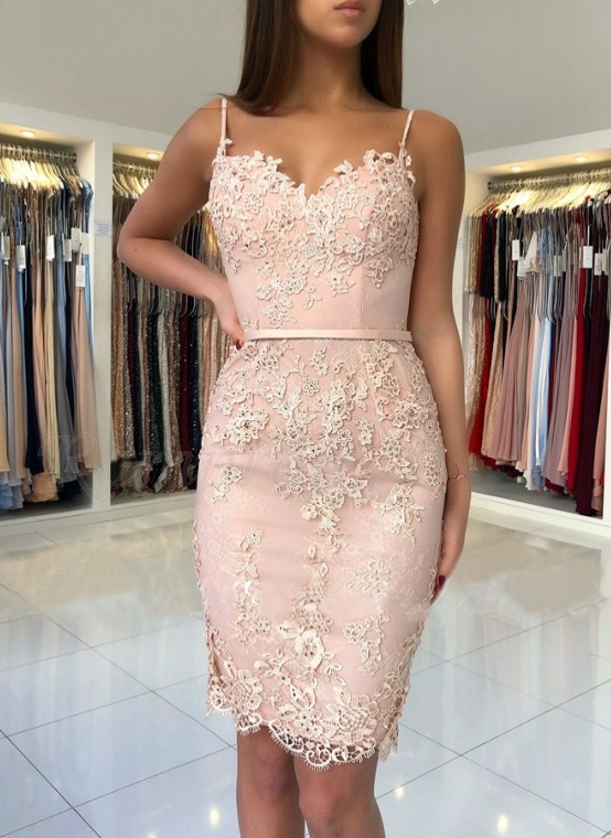 Elegant Pink Sheath Short Homecoming Dresses  Spaghetti-Strap Sexy Sleeveless Cocktail Dresses