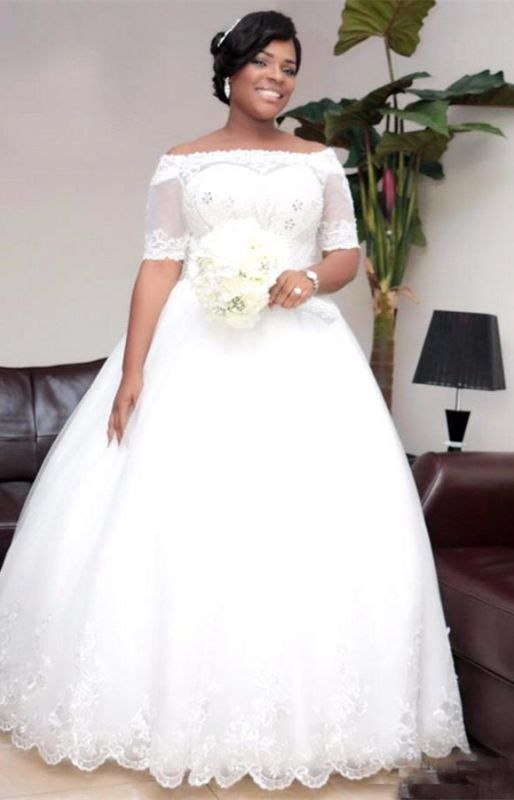 Modest White Lace Half-Sleeve Ball-Gown Wedding Dress