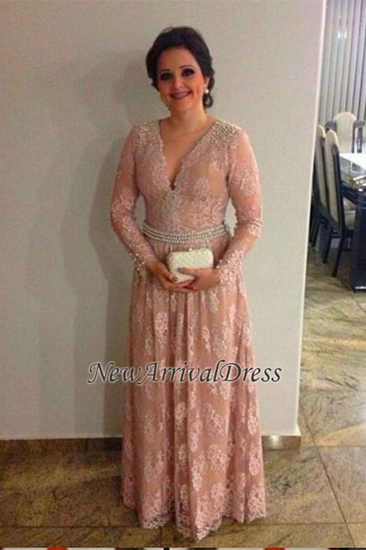 Long-Sleeve the A-line Elegant Mother V-neck Of Pearls Long Lace-Appliques Bride Dress