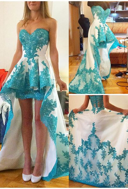 Blue Lace Applique Hi-lo Prom Dresses Ruffles Sweetheart Neck Sweep Train Homecoming Dresses