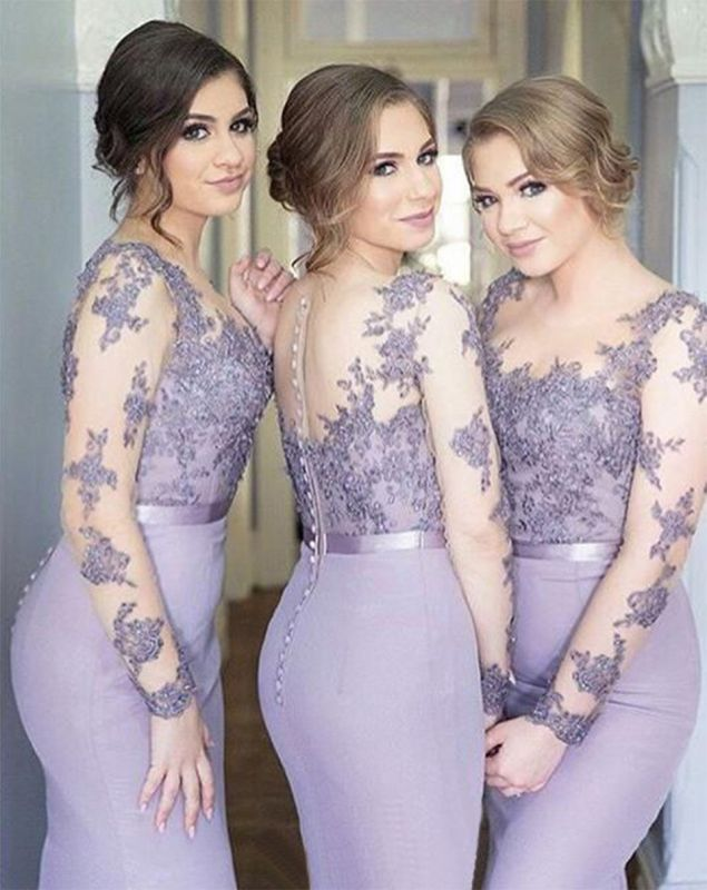 Popular Mermaid Buttons Lace Long-Sleeve Lavender Illusion Appliques Cheap Bridesmaid Dress