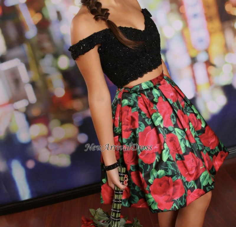 Off-the-Shoulder Black Lace-Beaded Two-Piece Floral Homecoming Dresses