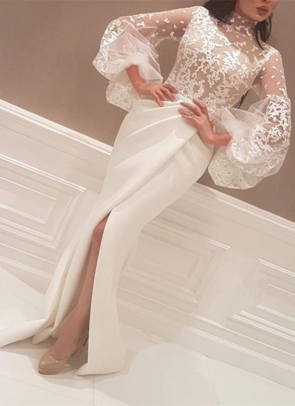 Elegant New Arrival Beautiful Lace High Neck Long Sleeve Wedding Dresses