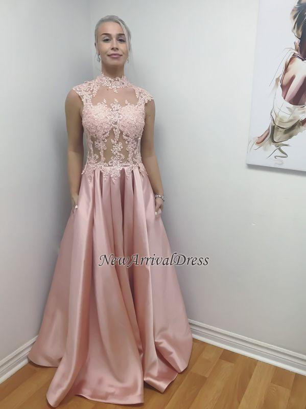 A-Line Long Lace-Applique Chic Illusion Bodice High-Neck Prom Dresses