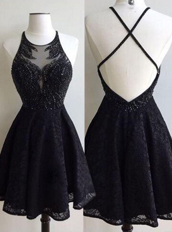 Black Beads Lace Cross Back Sexy Short Homecoming Dresses BA6891