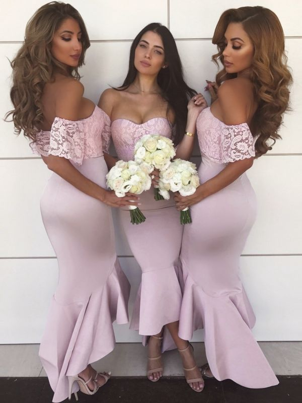 Off-The-Shoulder Mermaid Prom Dresses | High-Low Lace Bridesmaid Dresses