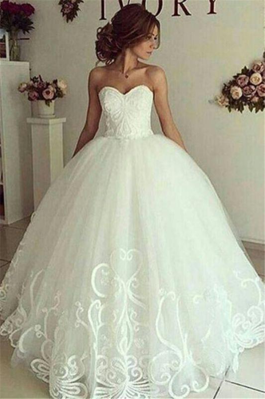 Sweetheart-Neck Appliques Cheap Online Elegant Ball Gown Wedding Dresses