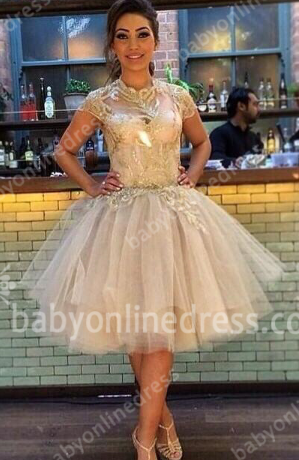 Short Sleeve High Neck Prom Gowns Appliques Sequined Tiered Ruffle Tulle Evening Dresses