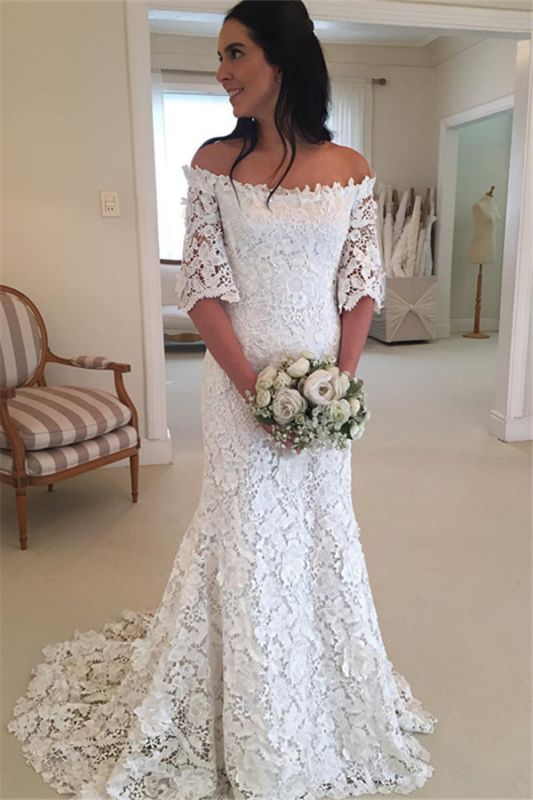 Sexy Off The Shoulder Simple Half Sleeves Beautiful Lace Wedding Dresses