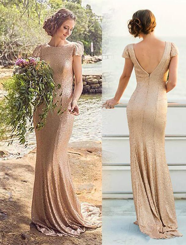 Elegant Sequined Short-Sleeve Zipper Long Bridesmaid Dresses