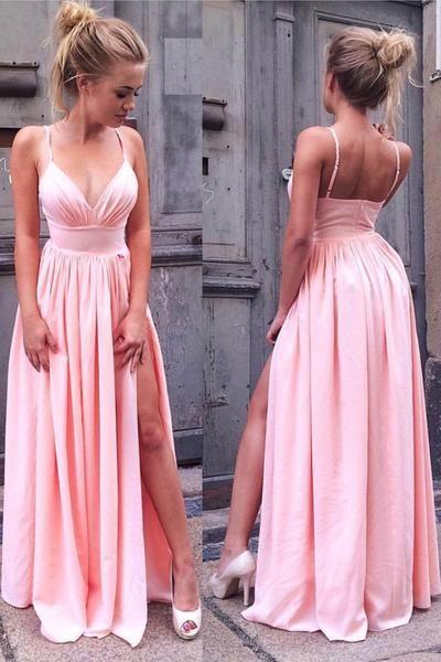 Sexy Pink Spaghetti Strap A-line Front Split Zipper Prom Dress BA7904