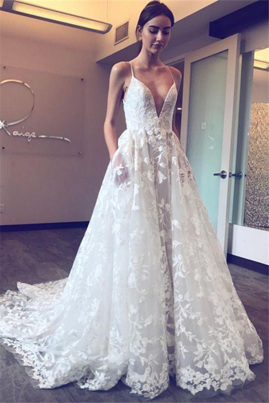 Elegant V-Neck Lace A-line Wedding Dresses | Spaghetti Straps Sleeveless Bridal Gowns