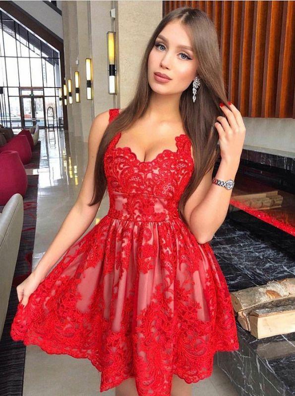 Classic Red Lace Homecoming Dresses  Spaghetti Straps Mini Cocktail Dresses
