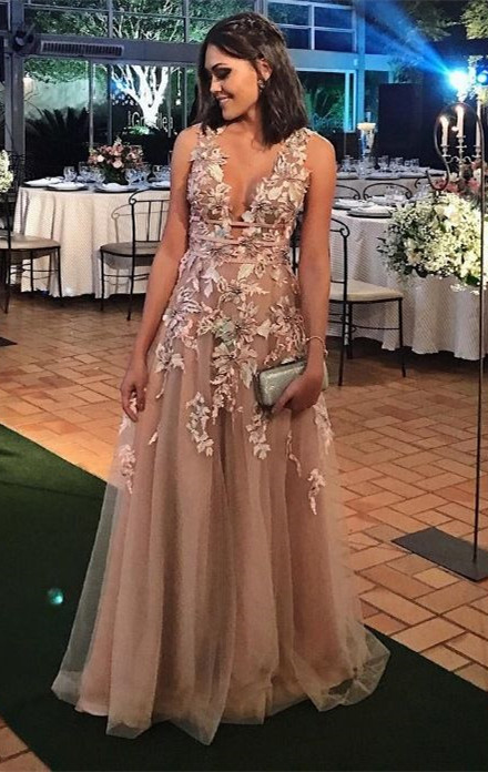 Modern Lace Appliques A-line Straps Sleeveless Long Prom Dress | Plus Size  Prom Dress BA8338