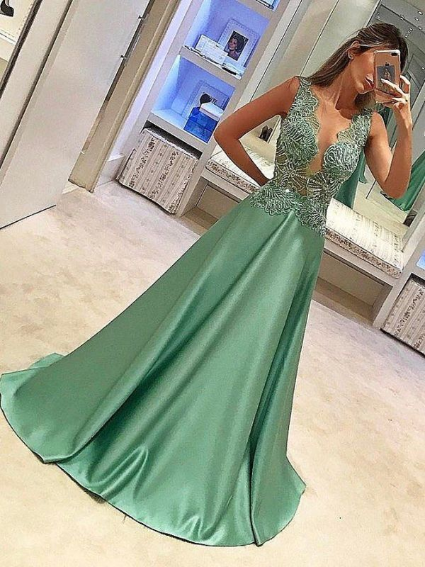 Sparkly Sheer Neck  Prom Dresses | llusion Bodice Beading Long Evening Dresses