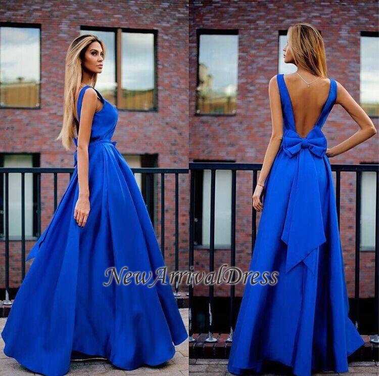 Open-Back Floor-Length Elegant Bowknot Royal-Blue Prom Dresses