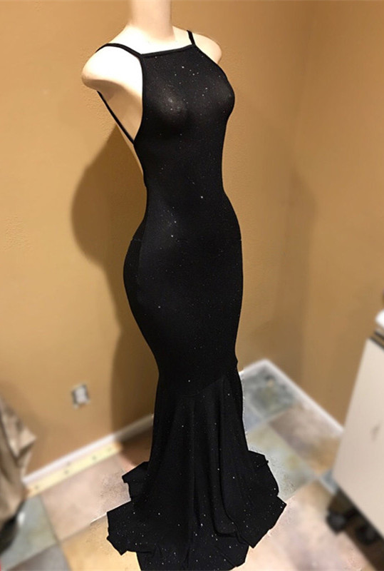 Spaghetti Straps Open Back Black Long Prom Dresses Cheap   Tight Formal Evening Dresses for Women BA9013