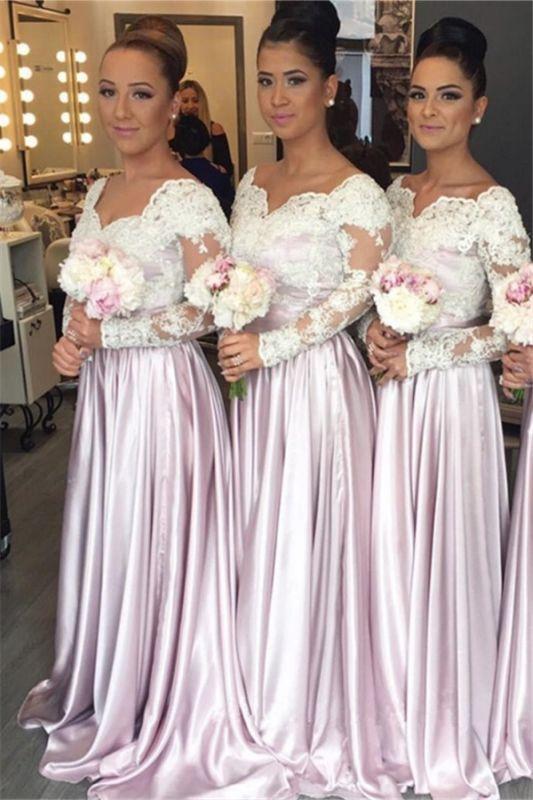 Elegant White-Lace Long-Sleeve Popular Pink V-neck Bridesmaid Dress