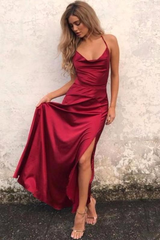 Sexy Simple Red Backless Prom Dresses Side Split Halter Party Gowns SK0038