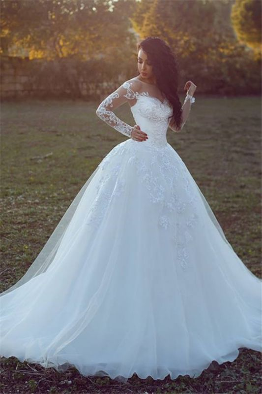 Appliques Glamorous Tulle Long Sleeve Ball Gown Wedding Dresses Cheap Online