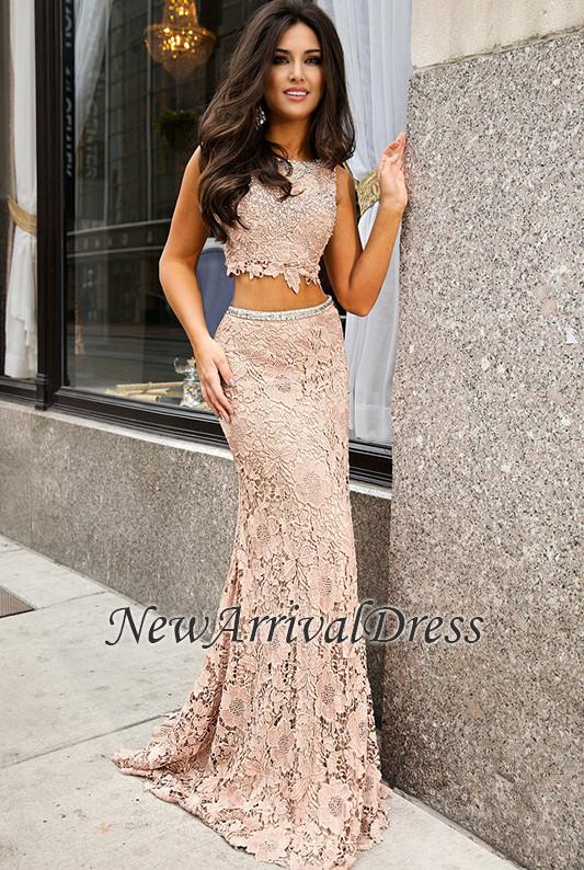 Lace Jewel Sweep-Train Two-Piece Short-Sleeve Delicate Mermaid Prom Dress