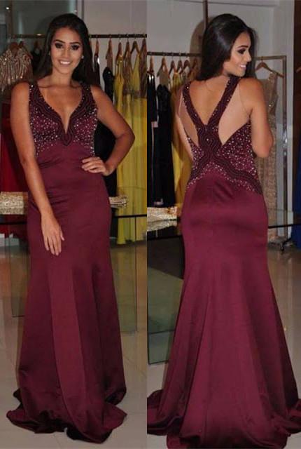 Modern Straps Mermaid Sleeveless Beading Long Prom Dress | Plus Size Prom Dress