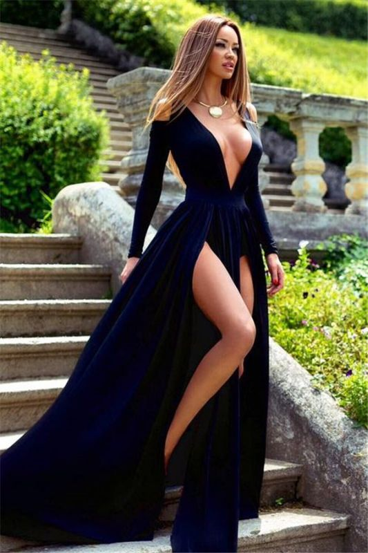 Plunging Neck Long Sleeve Summer Dresses Sexy Split Long Formal Gowns BA3599