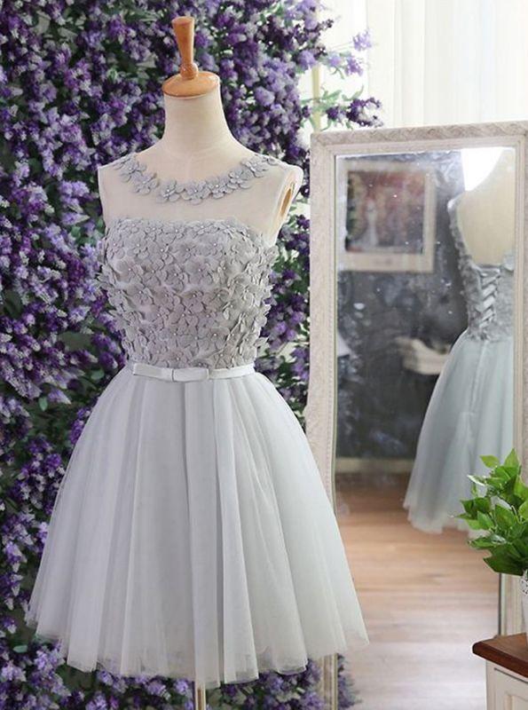 Modern Jewel Sleeveless Flowers Bowknot Sexy Short Homecoming Dresses