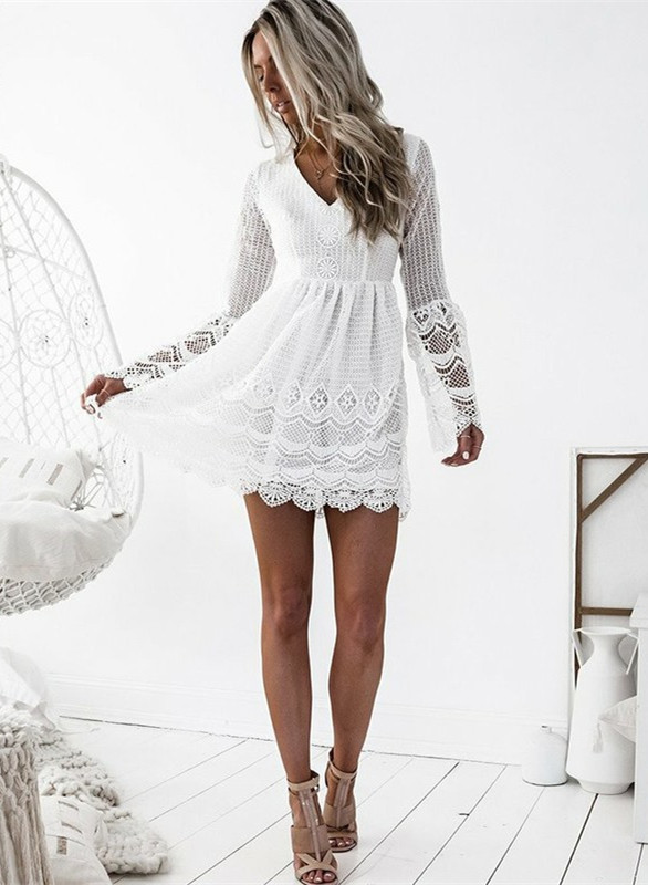 Cute White Lace Long Sleeve Homecoming Dress | Short Formal Gown