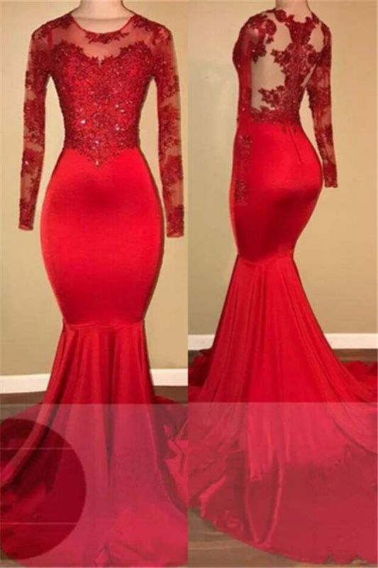 Long Sleeve Mermaid Lace Prom Dresses  Red Sheer Tulle Cheap Evening Gown FB0283