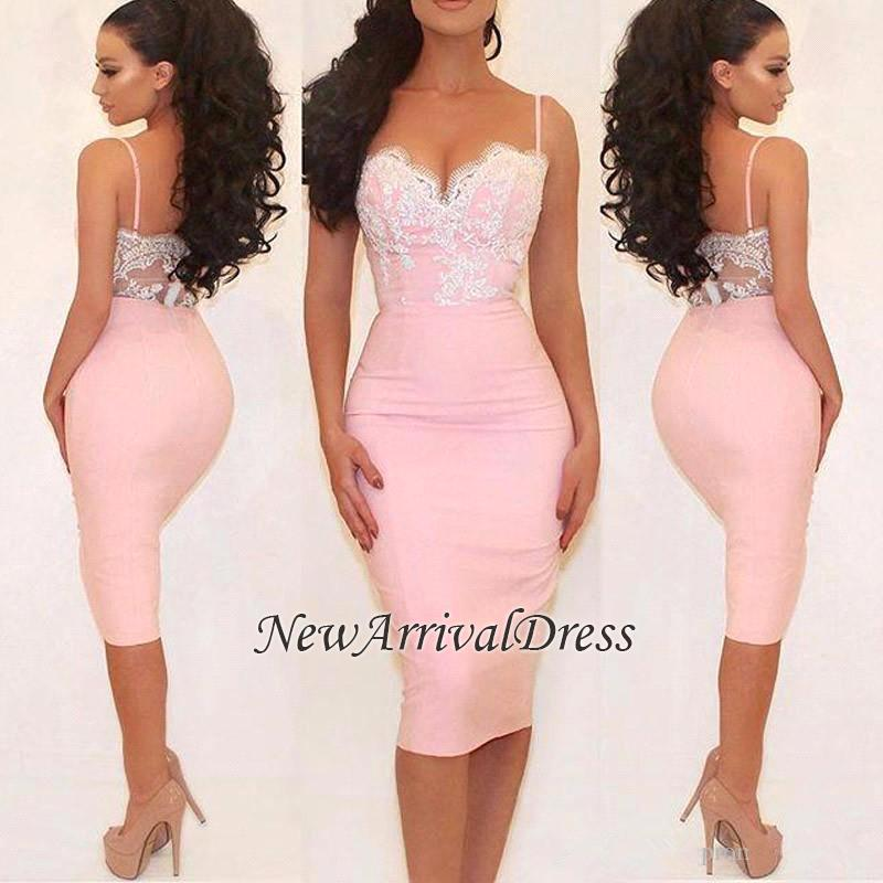 Pink Glamorous Lace Spaghetti-Straps Mermaid Prom Dress