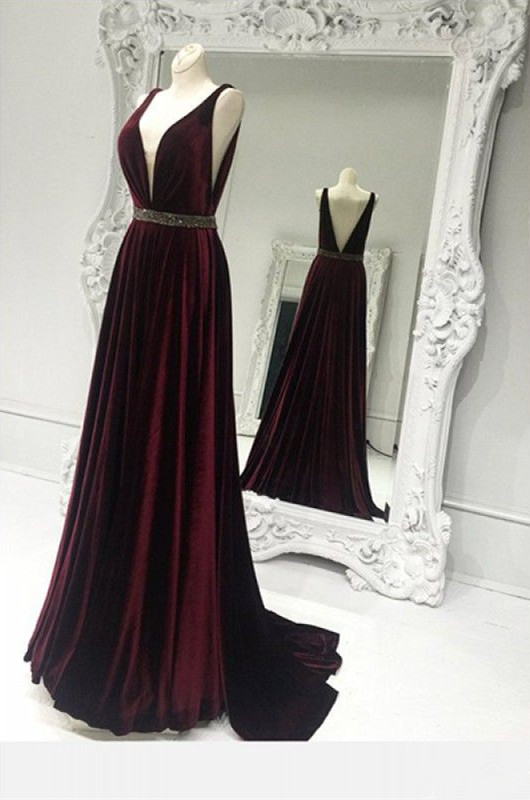Sweep Train Brads Sleeveless Custom Made A-line V-neck Burgundy Zipper Prom Dresses Cheap