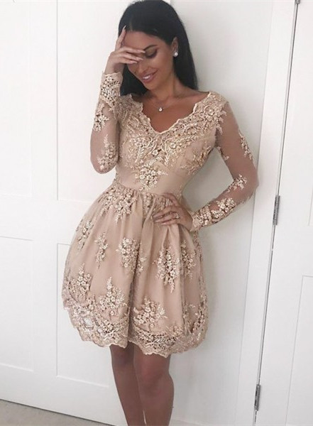 Modest Lace Appliques V-neck Homecoming Dress | Long Sleeve Party Gown