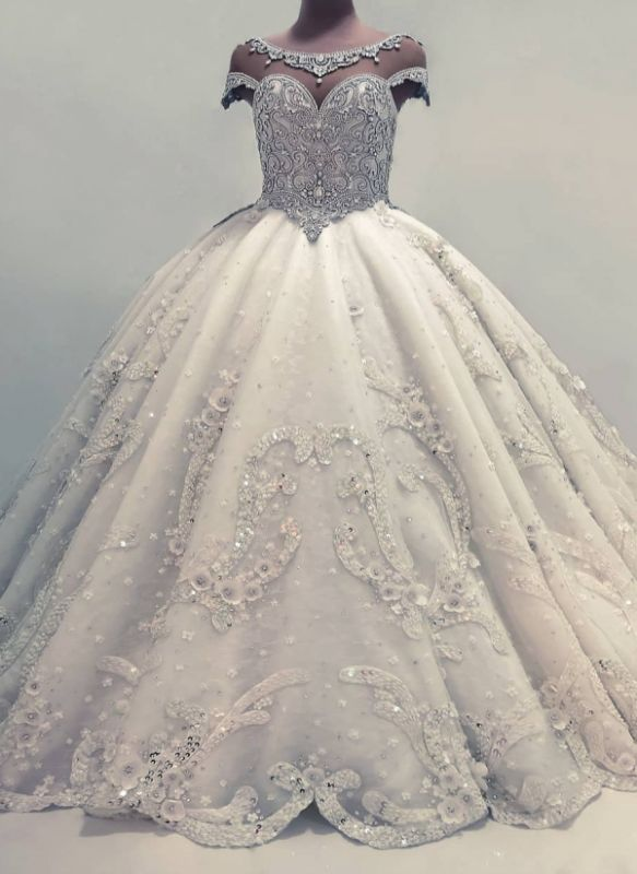 Sexy Ball Gown Wedding Dresses | Shiny Crystals Bridal Gowns with Flowerss