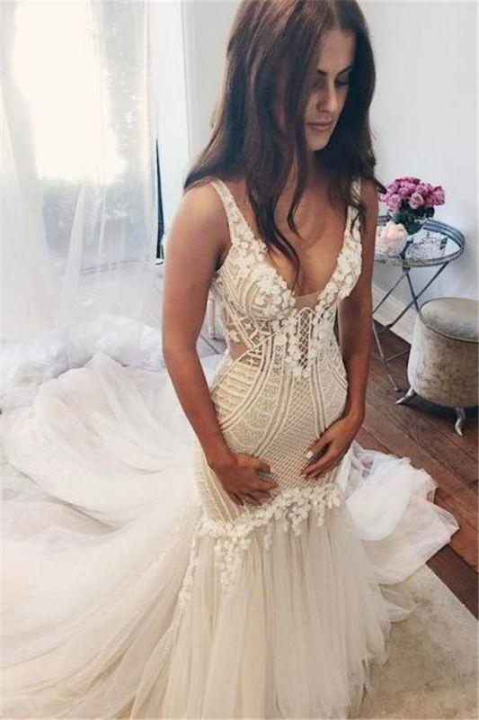 Mermaid V-Neck Wedding Dresses | Sleeveless Open Back Bridal Dresses with Buttons